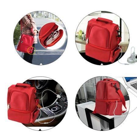 12L USB Heating Insulated Lunch Bag Thermal Travel Cooler Bag Food Beverage Carrier Bag - image 2 de 7