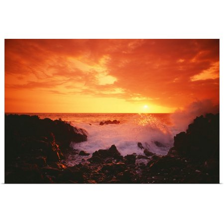 Great BIG Canvas | Rolled Greg Vaughn Poster Print entitled Hawaii, Big Island, Kona, Keahou, Sunset And Surf On