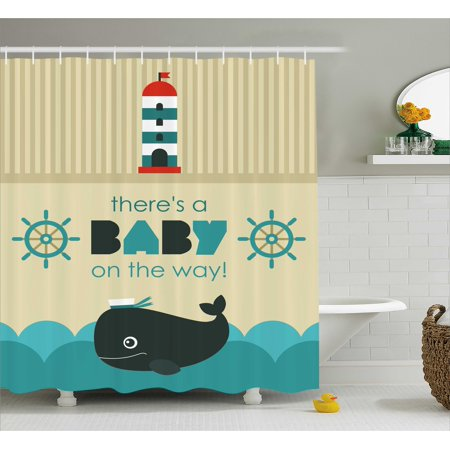 Ahoy Its a Boy Shower Curtain, Baby on the Way Message with Marine Theme Set Up Dolphin Wheel, Fabric Bathroom Set with Hooks, 69W X 70L Inches, Teal Dark Blue Khaki, by Ambesonne (Ahoy Its A Boy Baby Shower Theme)