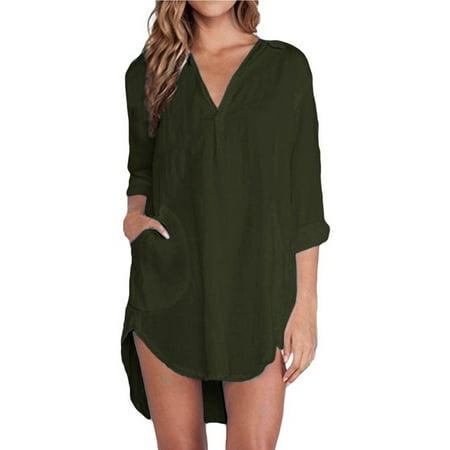 5390f373a34a5 ZANZEA - Women s V Neck Long Sleeve Casual Solid Irregular Hem Blouses -  Walmart.com