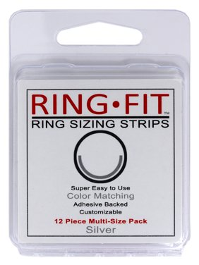 Ring-Fit Ring Sizing Strips for WIDE Rings (wider than 3mm) - Silver 12 pack