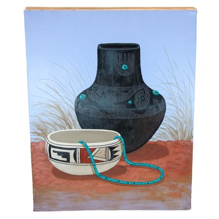 Retail Tag $350 Navajo Pottery Painted by Jimmy Yellowhair Authentic Acrylic Native American Painting (Navajo Pottery)