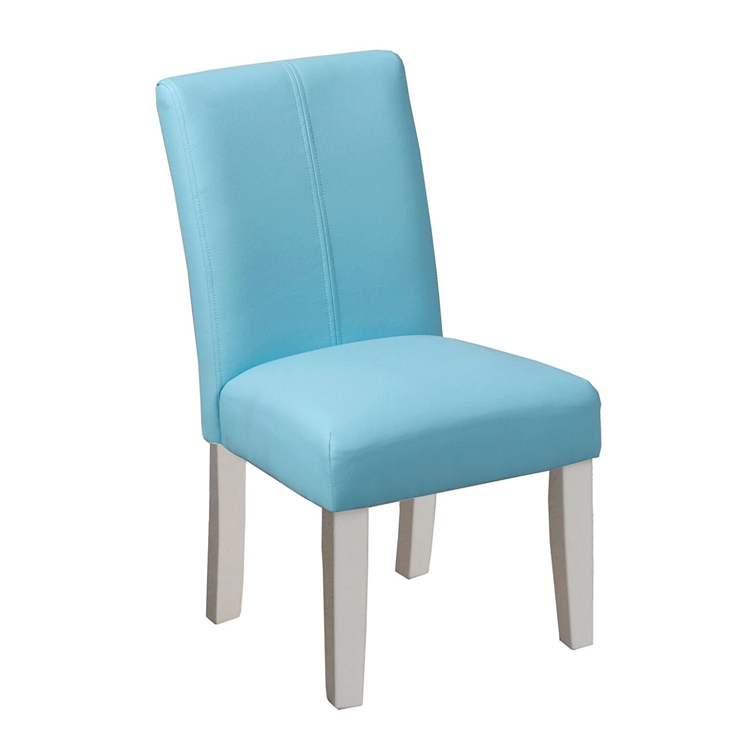 Kinfine Juvenile Parsons Faux Leather Chair, Aqua (Set of 2) by