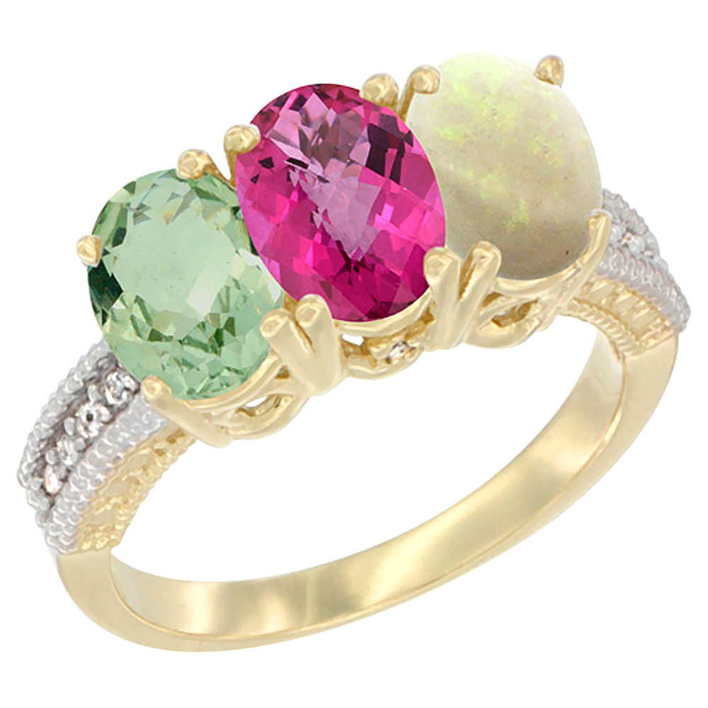 14K Yellow Gold Natural Green Amethyst, Pink Topaz & Opal Ring 3-Stone 7x5 mm Oval Diamond Accent, sizes 5 10 by WorldJewels