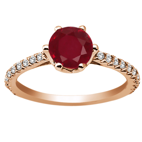 1.49 Ct Round Red Ruby White Topaz 18K Rose Gold Engagement Ring