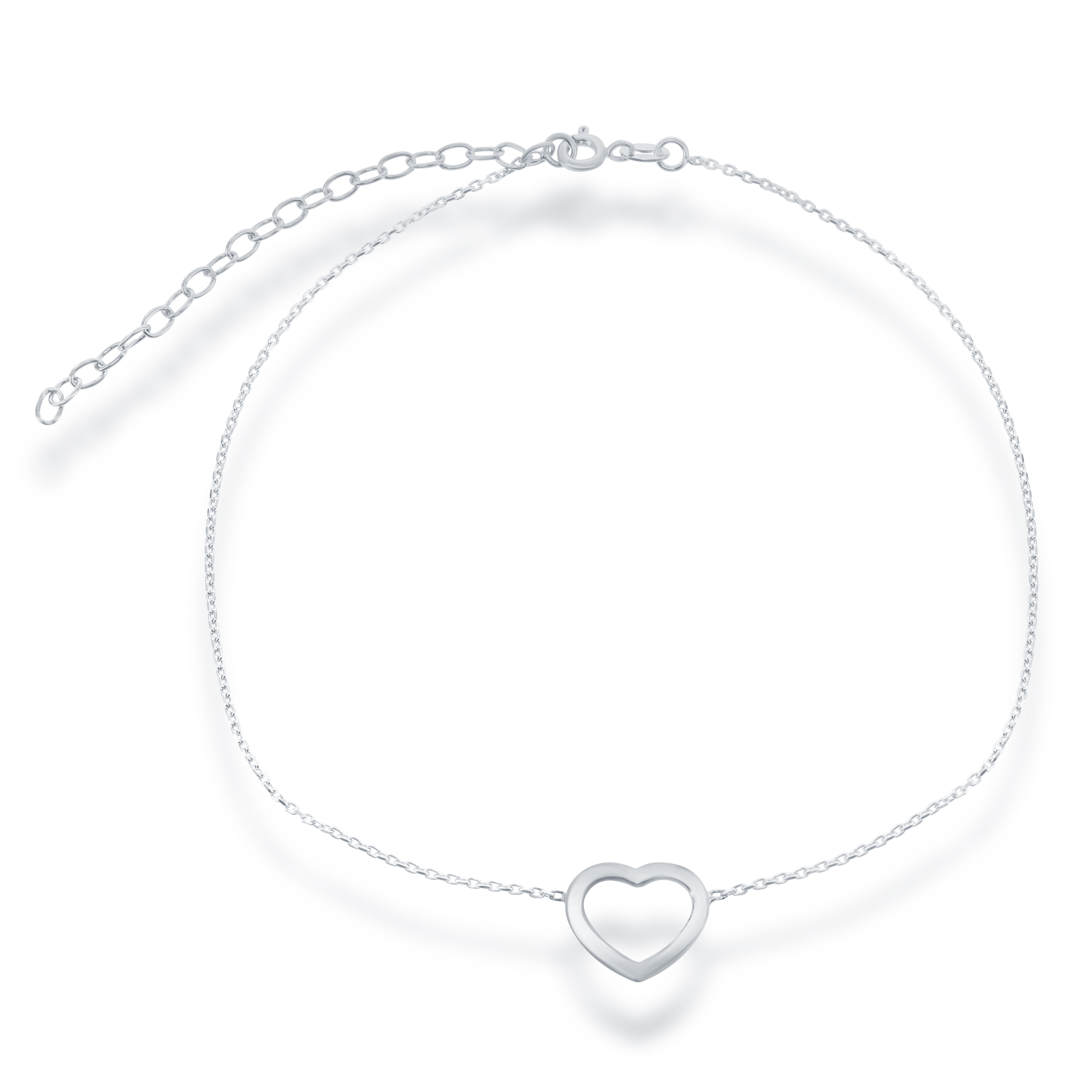 "Sterling Silver 12"" + 3"" Open Heart Choker Necklace"