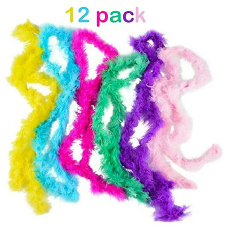 mini marabou feather boa- 12 pack of 44 inch- assorted - for halloween costumes, kids, gifts, props, & party favors - - Kids Halloween Party Games Ideas