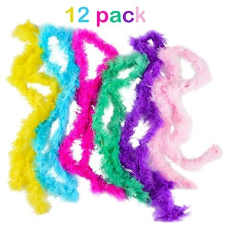 mini marabou feather boa- 12 pack of 44 inch- assorted - for halloween costumes, kids, gifts, props, & party favors - kidsco