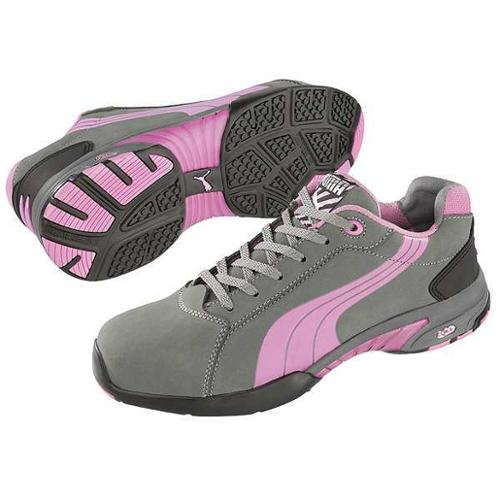 Puma Safety Size 6 Steel Toe Athletic Style Work Shoes, Women's, Gray/Pink, C, 642865