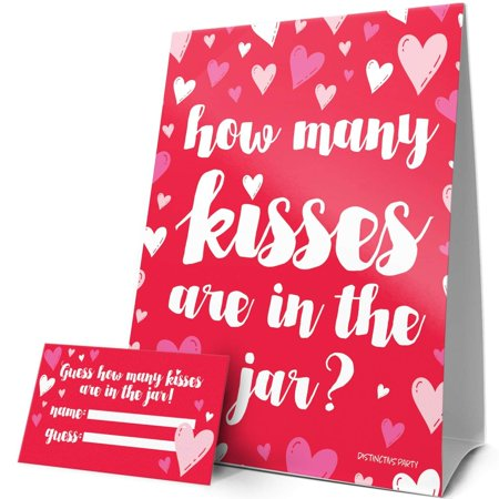 How Many Kisses are in the Jar Party Game - Red Happy Valentine's Day - Sign and 30 Guessing Cards - Distinctivs