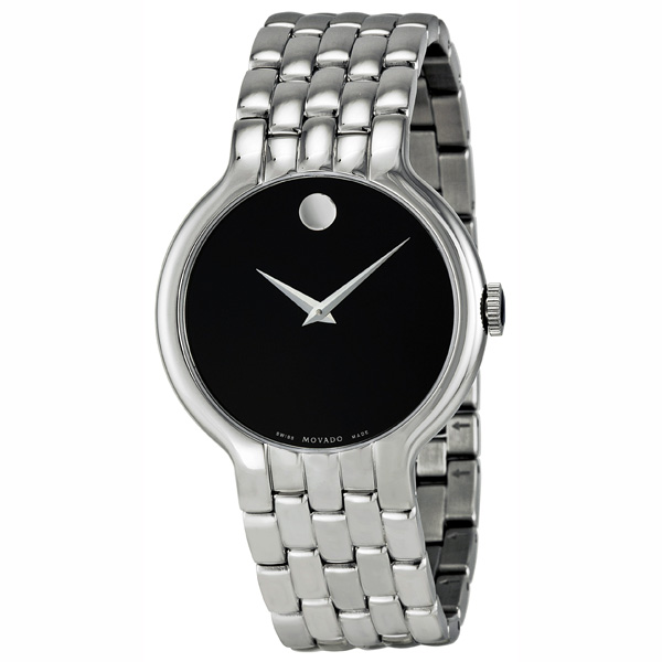 Classic Black Dial Stainless Steel Mens Watch 0606337