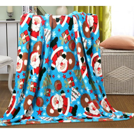 "Let It Snow Collection Holiday Microfleece Throw Blanket (50"" x 60"") - Santa Claus"