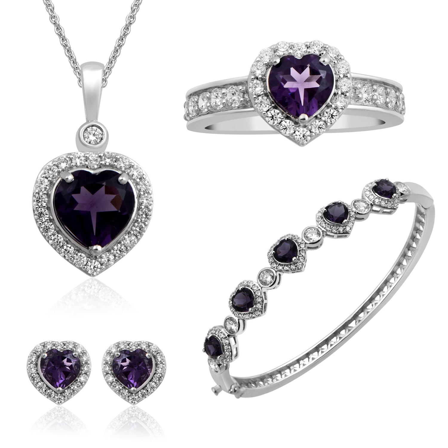 Sterling Silver & Brass Sim Amethyst Heart With White Cubic Zirconia Four Piece Box Set Consisting of Ring, Pendant,... by Generic