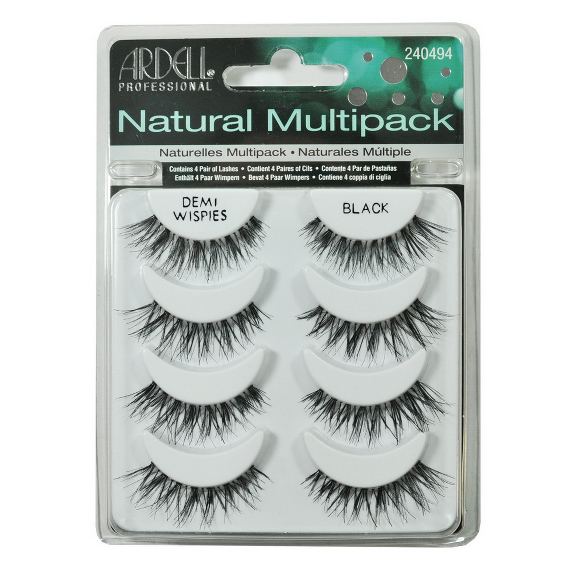 Beautychain False Eyelashes MultiPack Demi Wispies Black 4 Pairs Natural Fake Lashes