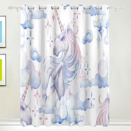 Popcreation Cute Watercolor Unicorn Window Curtain Blackout Curtains