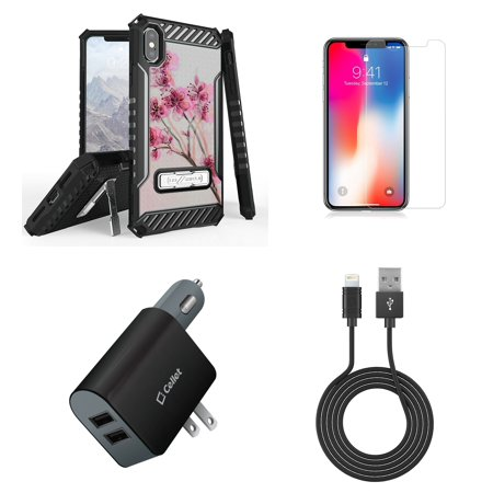 Beyond Cell Tri Shield Military Grade Shock Proof Kickstand Case (Cherry Blossom) with 2-Pack Screen Protectors, Cellet UL Certified Wall/Car Charger, USB Cable and Atom Cloth for iPhone Xs Max
