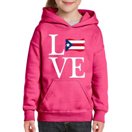 Love Puerto Rico Flag Unisex Hoodie For Girls and Boys Youth Sweatshirt (Puerto Rico Costume For Boys)