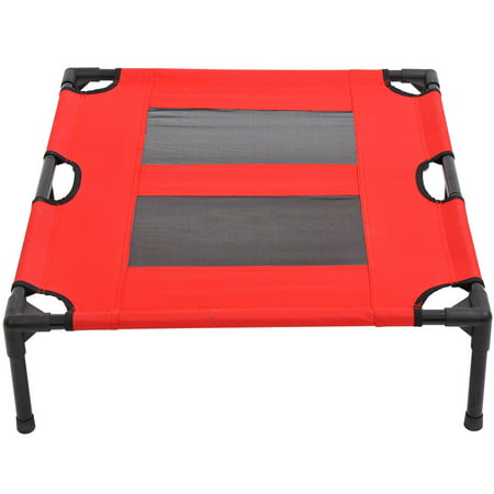 "31"" x 27"" Metal Frame Elevated Pet Bed Cot Dog Cat Camping Sleeper, Red and Black - image 1 de 7"