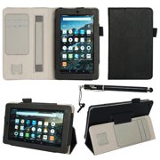 """Fire 7 2015 Case - DigitalsOnDemand ® Slim Executive Black Leather Folio Cover Stand - Card Holders, Wallet Pouch, Elastic Hand Held Interior Strap and Bonus 2in1 Stylus Pen for Amazon Fire 7"""""""