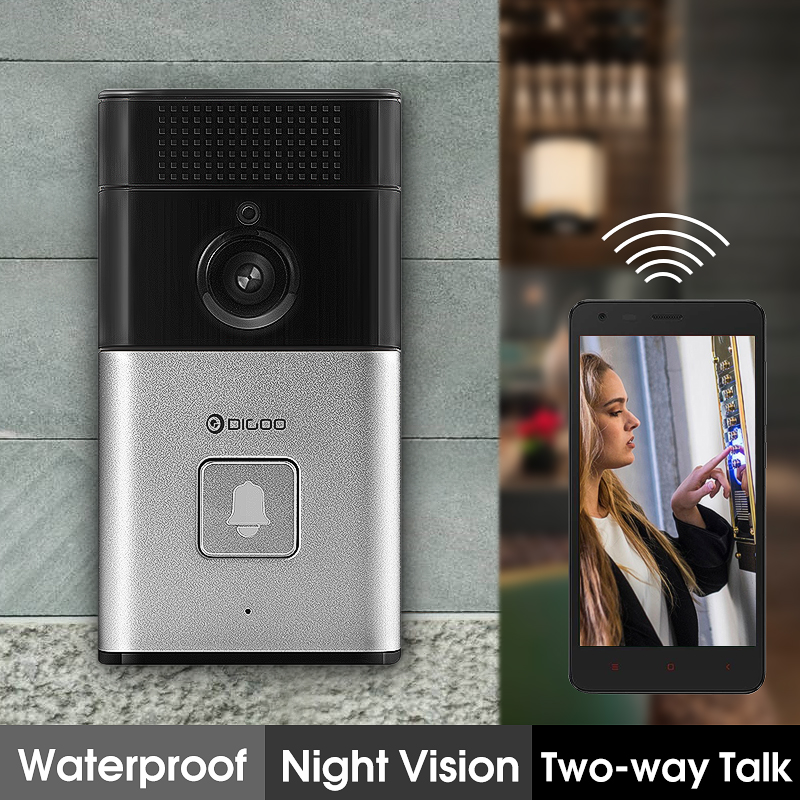 Digoo Bluetooth WIFI Wireless Smart Home Night Visual Video Door Bell Security 720P Camera Free APP Control Intercom Alarm Clear Night Vision Doorbell