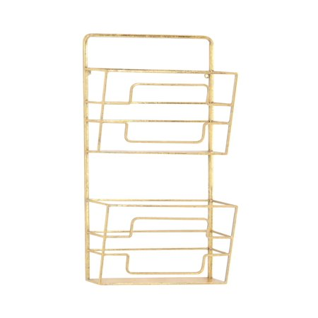 2 Tier Magazine - Decmode Modern Gold Iron 2-Tier Wall Mounted Magazine Rack, Gold