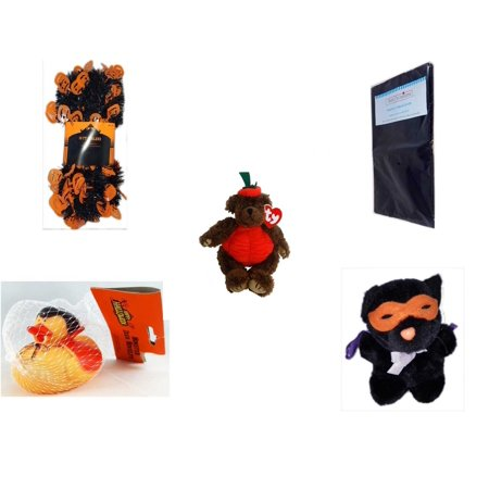 Halloween Fun Gift Bundle [5 Piece] -  Black & Orange Pumpkin Garland 10 ft. - Black Plastic Table Cover  - Ty Attic Treasures