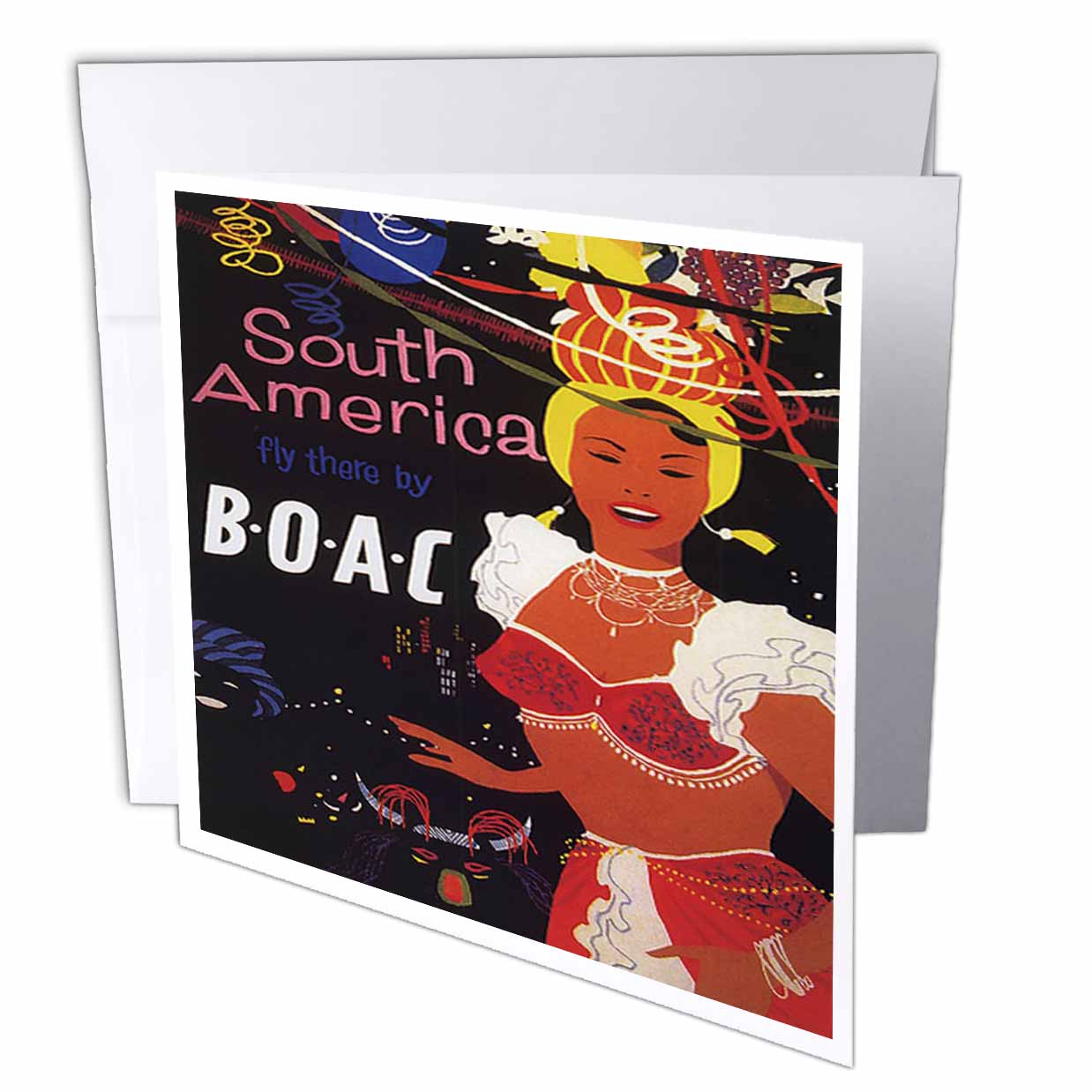 3dRose Vintage BOAC South America Travel Poster, Greeting Cards, 6 x 6 inches, set of 6