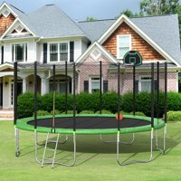 Merax 16' Trampoline with Basketball Hoop and Enclosure, Green