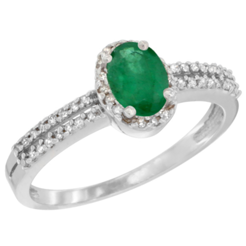10K White Gold Natural Cabochon Emerald Ring Oval 6x4mm Diamond Accent, sizes 5-10