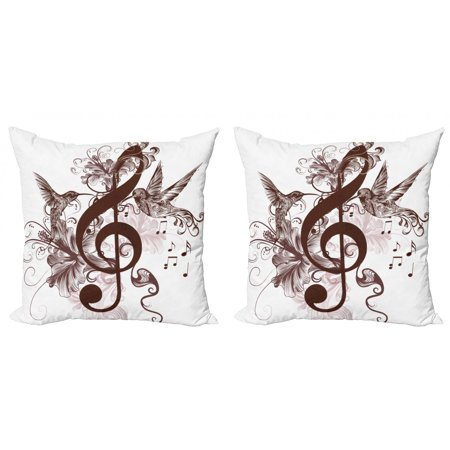 Music Throw Pillow Cushion Cover Pack of 2, Floral Design Treble Clef and Singing Flying Birds Sparrows Art, Zippered Double-Side Digital Print, 4 Sizes, Chestnut Brown White, by Ambesonne