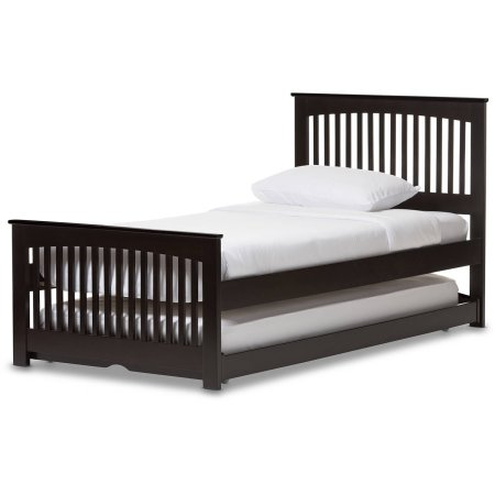 Baxton Studio Hevea Twin-Size Solid Wood Platform Bed with Guest Trundle Bed, Dark Brown