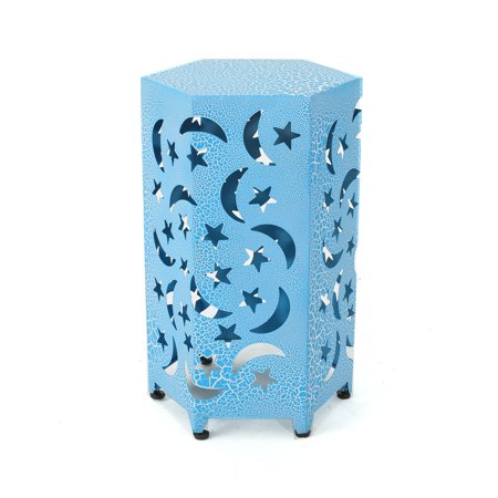 Carusa Indoor 12 Inch Iron Moon and Stars Side Table, Crackle Blue
