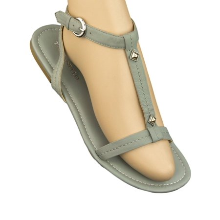 TIGNANELLO Mel Jean T-Strap Studded Leather Sandals Shoes A214773 NEW