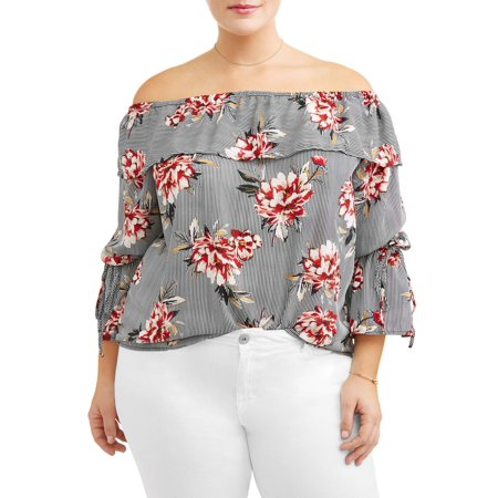 Women's Plus Size Floral Row Bib - Bib Blouse