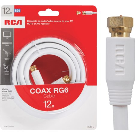 RCA 12' RG-6 Digital Coaxial Cable With Gold Plated F Connectors (White) ()