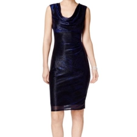 - Connected Apparel NEW Blue Women's Size 14 Cowl-Neck Sheath Dress
