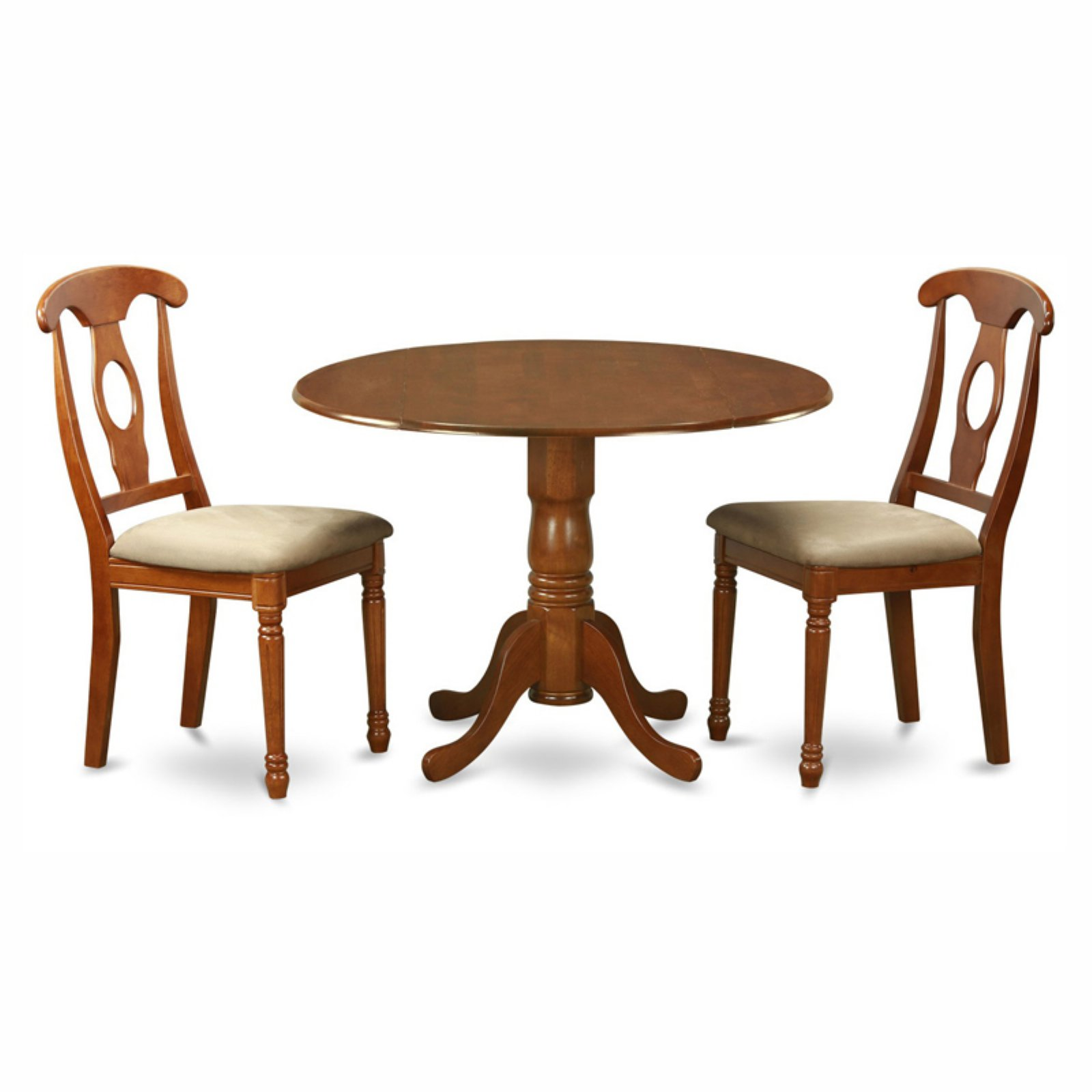 East West Furniture Dublin 3 Piece Drop Leaf Dining Table Set with Kenley Microfiber Seat Chairs