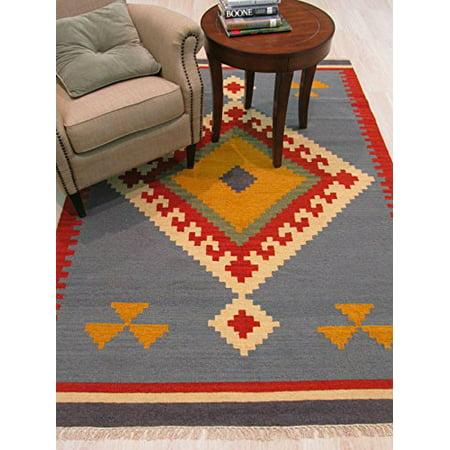 EORC DN6MU5X8 Handmade Wool Keysari Kilim Rug, Blue, 5` X 8` - image 1 de 4