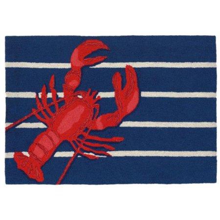 Trans-Ocean Import FTP12159533 Frontporch 1595-33 Hand Tufted Lobster on Stripes Oriental Rug, Navy - 20 x 30 in. - image 1 of 1