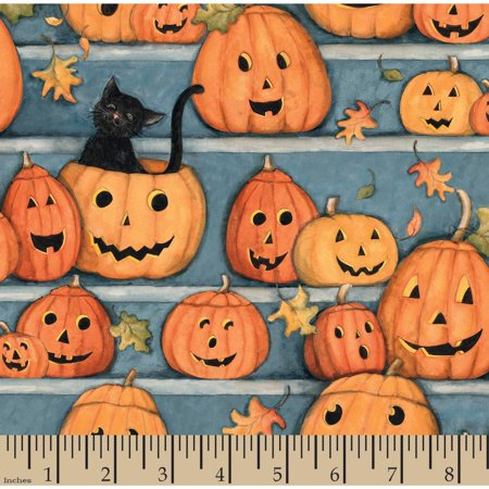 Halloween Pumpkin Stares Panel, Orange, 100 Percent Cotton, 43/44