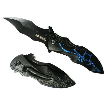 (Blue Batman Dark Knight Bat Shaped Pocket Knife)