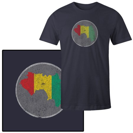Country Flags T-shirt - Men's Guinea Country Flag Illustration on Gray T-Shirt