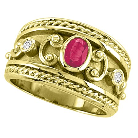Oval Shaped Ruby and Diamond Byzantine Ring 14k Yellow Gold (0.73ct)