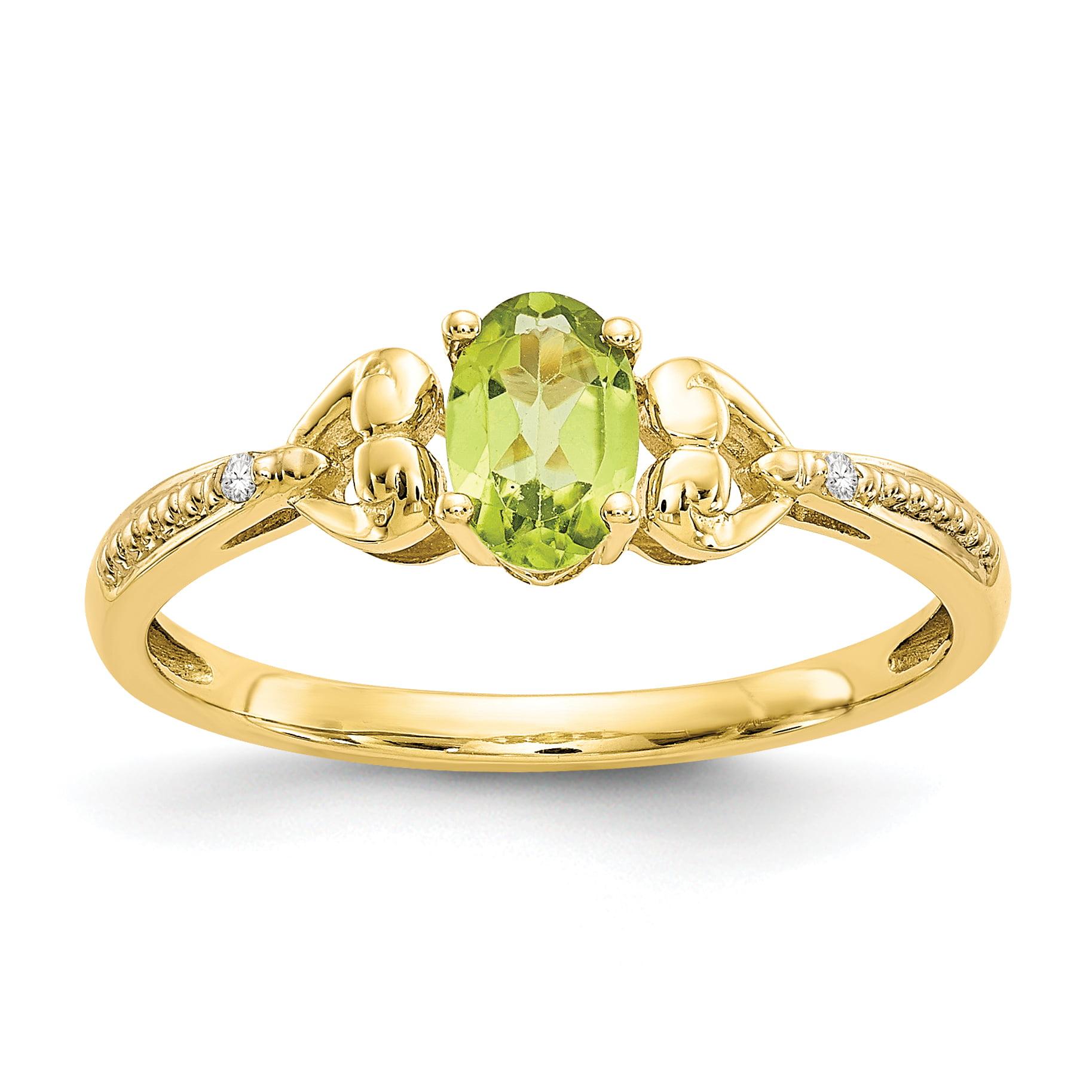 10K Peridot Diamond Ring by Saris and Things QG