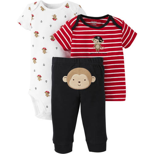 Child of Mine made by Carter's Newborn Baby Boy T Shirt, Bodysuit and Pant Outfit Set 3 Pieces