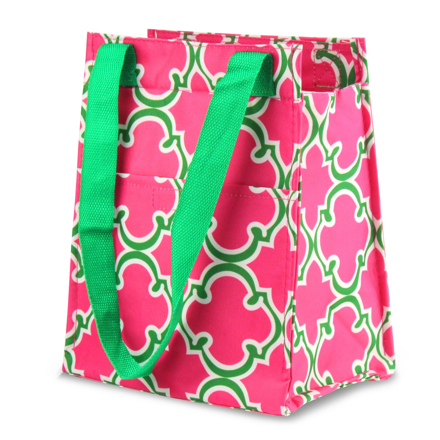 "Leak Resistant Reusable Insulated Lunch Tote Carry Storage Organizer Zip Cooler Bag by Zodaca (Size: 11.5"" x 6.5"" x 9"") - Pink Quatrefoil"
