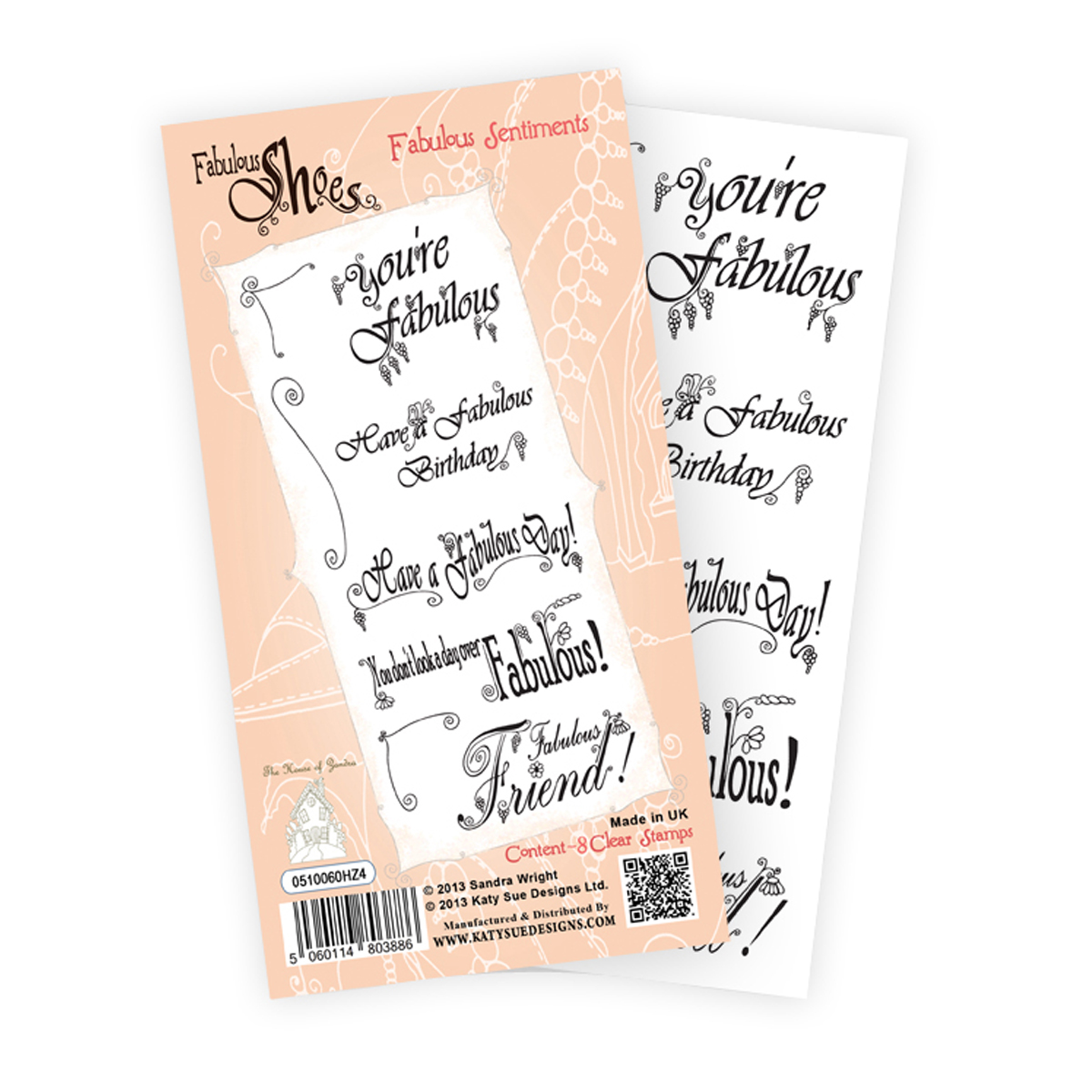 "Katy Sue Designs Fabulous Shoe Clear Stamps 4""X8"" -Fabulous Sentiments"