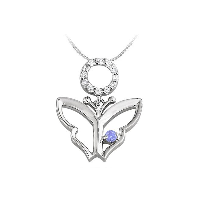 Fine Jewelry Vault UBUPDS85124AGCZTZ Butterfly Pendant Necklace with Cubic Zirconia and Created Tanzanite in Sterling... by Fine Jewelry Vault