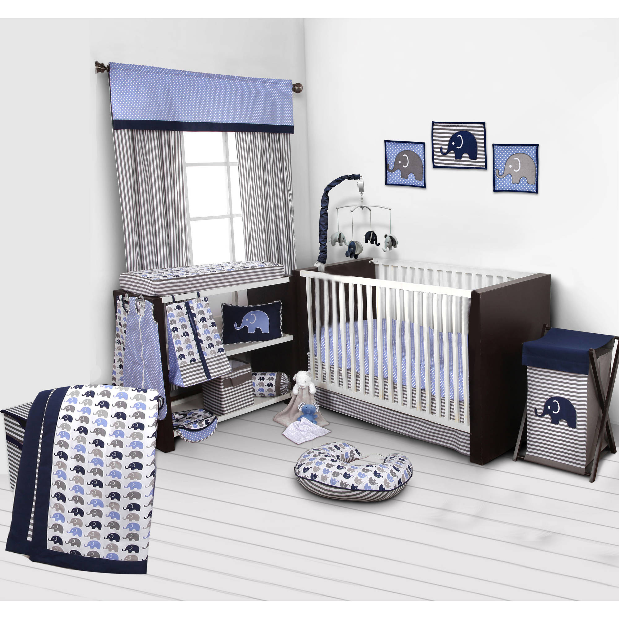 Nautical baby bedding sets - Bacati Elephants Blue Gray 10 Piece Nursery In A Bag Crib Bedding Set