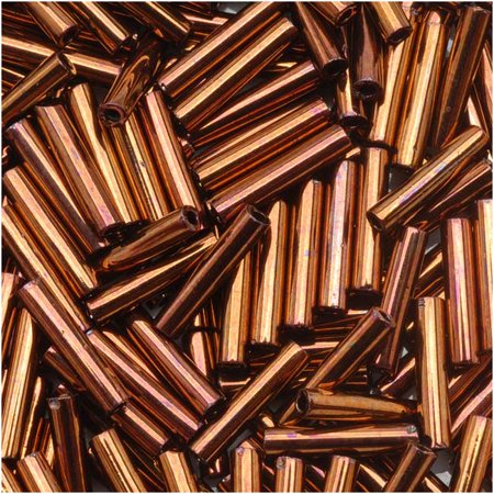 Luster Bugle Beads (Toho Bugle Tube Beads Size #3 2x9mm Burnished Bronze 10 Grams )